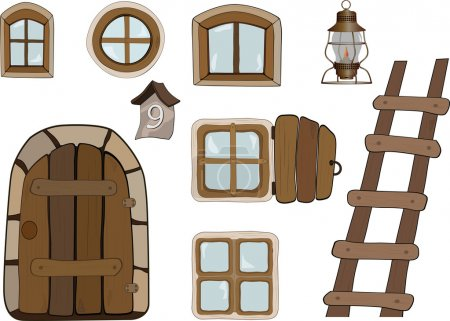 Illustration for Building objects Windows and doors architecture - Royalty Free Image