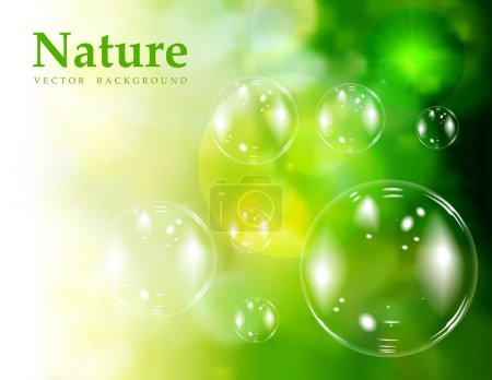 Illustration for Soap bubbles on green natural background. Vector illustration - Royalty Free Image