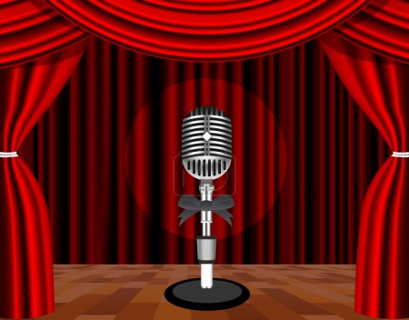 A microphone on a stage with a spotlight on it.