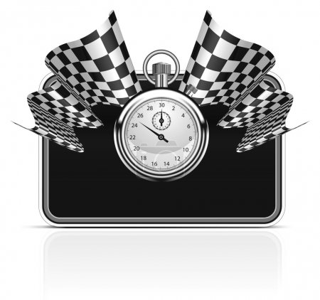 Illustration for Checkered flag with a stopwatch background. Vector illustration. Easy to resize frame - Royalty Free Image