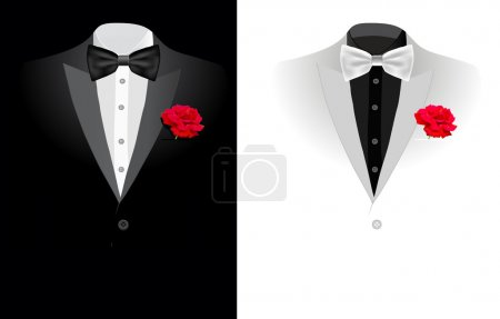 Vector black business suit on black and on white b...