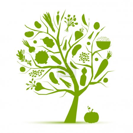 Illustration for Healthy life - green tree with vegetables for your design - Royalty Free Image