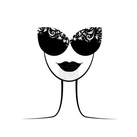 Female fashion silhouette with sunglasses your design