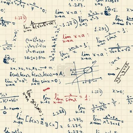 Illustration for Seamless background with math formulas on blackboard - Royalty Free Image