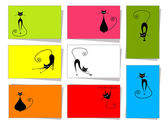 Set of funny cats 10 cards for your design with place for your text