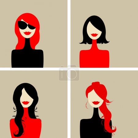 Illustration for Fashion woman portrait for your design - Royalty Free Image