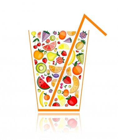 Illustration pour Mélange de jus de fruits en verre pour votre design - image libre de droit