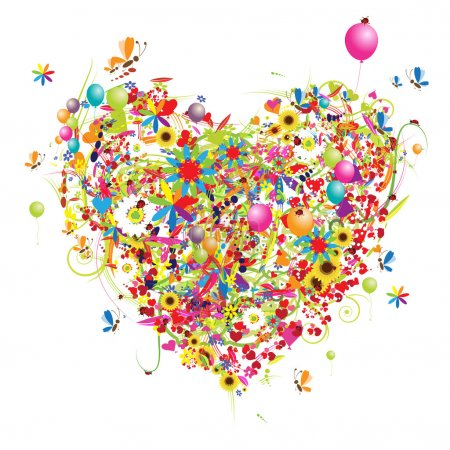 Illustration for Happy holiday, funny heart shape with ballons - Royalty Free Image