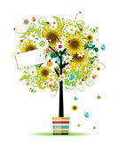 Summer tree in the pot with card for your design