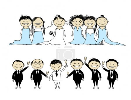 Wedding party - bride and groom with friends