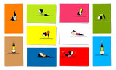 Woman practicing yoga 10 cards for your design