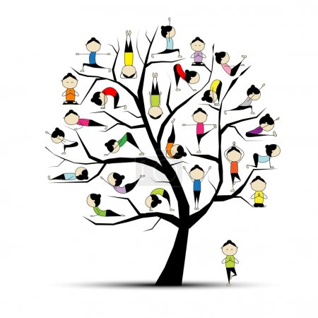 Illustration for Yoga practice, tree concept for your design - Royalty Free Image