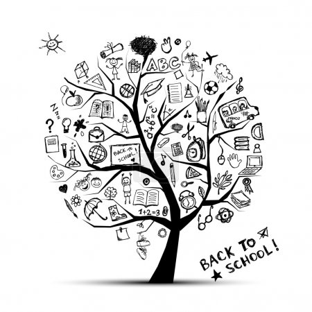 Illustration for Tree of knowledge, concept of school for your design - Royalty Free Image