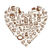 Coffee time heart shape for your design