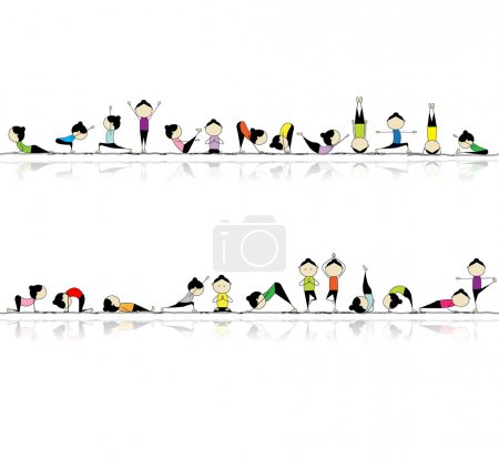 practicing yoga, seamless background for your design
