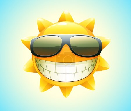 Photo for Illustration of cool cartoon happy summer sun in sunglasses - Royalty Free Image