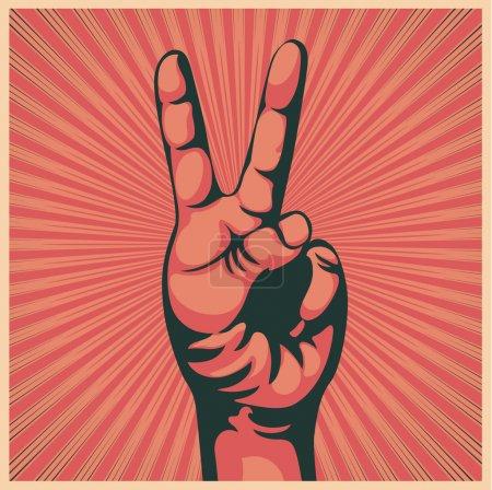 Photo pour Illustration dans le style rétro d'un coup de main avec le signe de la victoire - image libre de droit