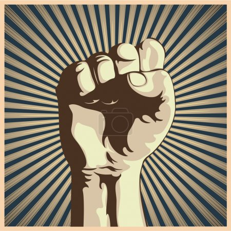 Photo for Illustration in retro style of a clenched fist held high in protest. - Royalty Free Image