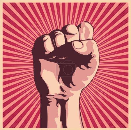 Photo pour Illustration dans le style rétro d'un poing tenue haute en signe de protestation - image libre de droit