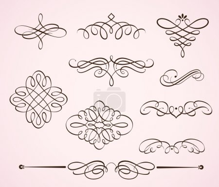 Photo for Illustration set of swirling flourishes decorative floral elements - Royalty Free Image