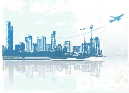Photo pour Big City - Grunge style fond urbain. Illustration vectorielle . - image libre de droit