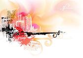 Vector illustration - Futuristic looking watercolor grunge urban background