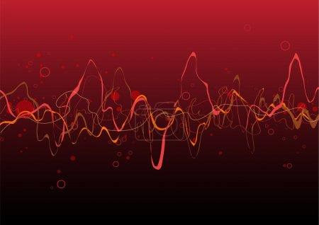 Illustration pour Fond de lignes abstraites rouges : composition de lignes courbes - idéal pour les arrière-plans, ou superposition sur d'autres images - image libre de droit