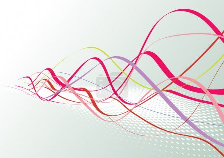 Illustration pour Fond de lignes abstraites : composition de lignes courbes colorées - idéal pour les arrière-plans, ou superposition sur d'autres images - image libre de droit