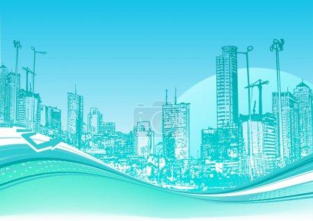 Photo pour Illustration vectorielle de Big City. Fond urbain bleu avec composition abstraite de points et lignes courbes . - image libre de droit