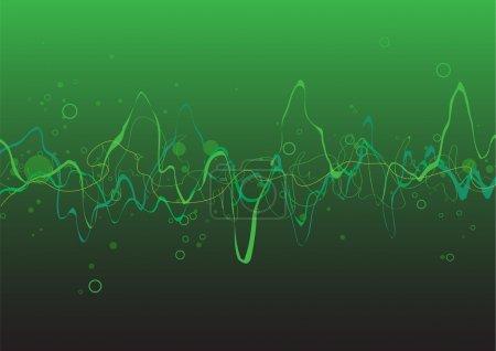 Illustration pour Fond de lignes abstraites vertes : composition de lignes courbes - idéal pour les arrière-plans, ou superposition sur d'autres images - image libre de droit