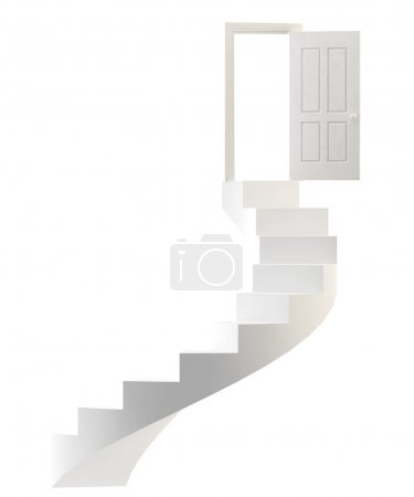 Photo for Door and ladder of white color. Isolated over white - Royalty Free Image