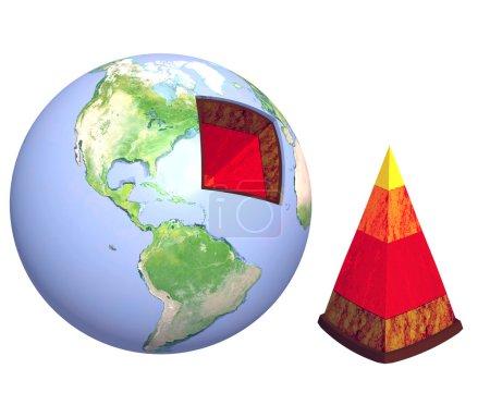Photo pour Structure de la terre. modèle isolé sur blanc - image libre de droit