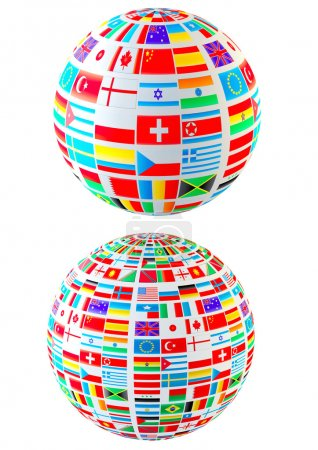 Photo pour Sphères de drapeaux du monde-ensemble. isolé sur blanc - image libre de droit