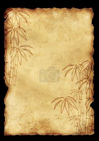 Photo pour Arrière-plan - vieux papier avec image de bambou - image libre de droit