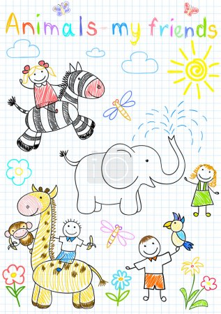 Illustration for Vector sketches happy children's and animals. Sketch on notebook page - Royalty Free Image