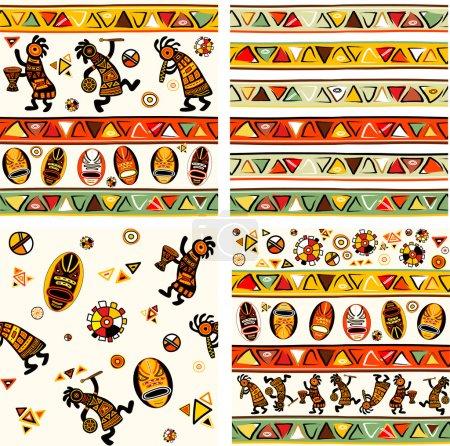 Illustration pour Collection de fond sans couture vectoriel avec des motifs traditionnels africains - image libre de droit