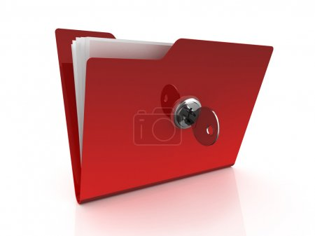 Photo pour Icône de dossier avec clé isolé sur fond blanc - image libre de droit
