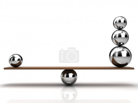 Photo for Balancing balls on wooden board - Royalty Free Image