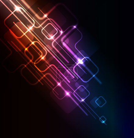 Illustration for Stylized abstract background with digital symbols and glowing elements - Royalty Free Image