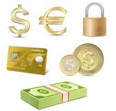 Vector finance icon set Dollar and Euro signs Credit card coins banknotes padlock