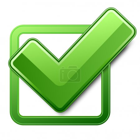 Illustration for Green check box with check mark - Royalty Free Image