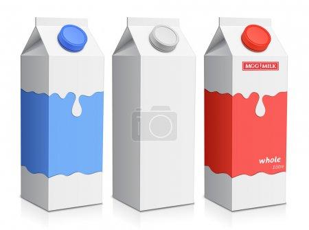 Illustration pour Collecte de boîtes à lait. Carton de lait avec bouchon à vis - image libre de droit