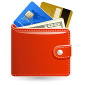 Leather wallet with money and credit cards