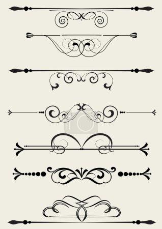 Illustration for Set of design elements in vintage style vectorized - Royalty Free Image