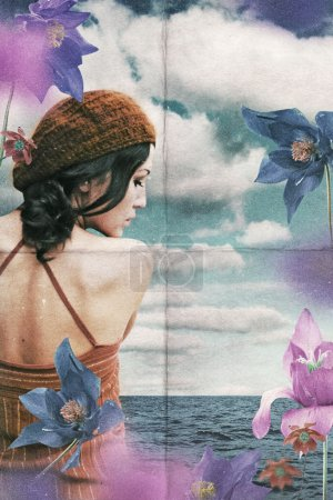 Vintage collage with woman on flowers
