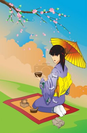Illustration for Tea drinking under a blossoming Oriental cherry - Royalty Free Image