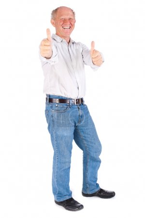 Photo for Old man showing thumbs up isolated on white background. - Royalty Free Image