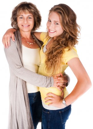 Photo for Mother and daughter embracing each other isolated on white background. - Royalty Free Image