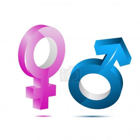 Photo pour Illustration de l'icône mâle femelle sur fond blanc - image libre de droit