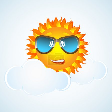 Photo for Illustration of happy sun in cloud with eye-wear on white background - Royalty Free Image